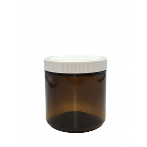 16oz Amber Straight Sided Jar Assembled w/89-400 PTFE Lined Cap, Ionized, EPA Certified, Barcoded & Labeled (12/cs)