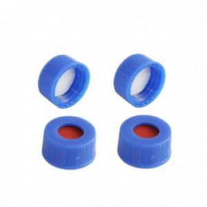9-425 Blue PP Threaded 9mm Cap w/Bonded PTFE/Red Rubber Septum (100/pk)