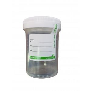 120mL Sterile PP Specimen Container w/Sodium Thiosulfate White Screw Cap & Custody Seal (300/cs)