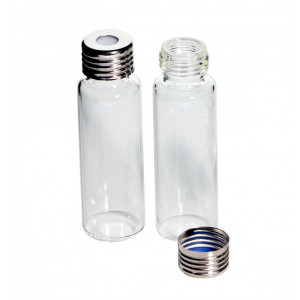 20mm Clear Headspace Vial Screw Thread   Assembled w/18mm Metal Magnetic Screw Cap with Prefitted Silcone /PTFE liner (Chromacol 20mm, w/0.20mL 1:1 HCL (125 per case)