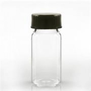 20mL Amber VOA Vial Assembled w/24-400 Black Phenolic Poly Cone Lined Cap (100/pk)