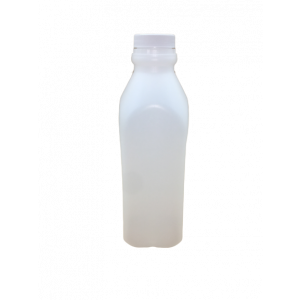 16oz Natural HDPE Juice Style Bottle Assembled w/38-400 F-217 Lined Cap, Certified (400/cs)