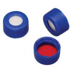 Blue Cap w/PTFE/Silicone Septa for 9mm Threaded GC Vials (100pk)