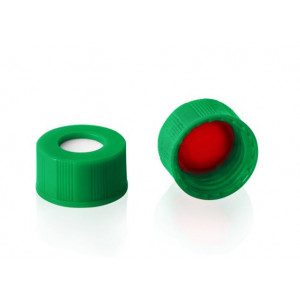 Green Cap w/PTFE/Silicone Septa for 9mm Threaded GC Vials (100pk)