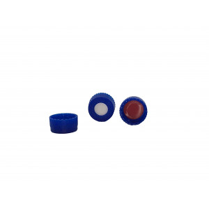 9-425 Blue PP Threaded Cap Assembled w/Bonded PTFE/Silicone Septum (100/pk)