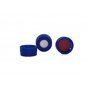 9-425 Blue PP Threaded Cap Assembled w/PTFE/Silicone Pre-Slit Septum (100/pk)