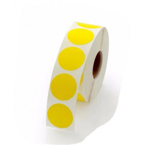 1-THERMAL TRANSFER LABEL-FLOOD YELLOW CIRCLE(5500 PER ROLL)