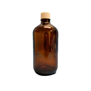 1L Amber Boston Round Assembled w/33-430 PTFE Lined Cap, Certified, No Bar Code, Labeled, w/50mg Sodium Sulfite (12/cs)