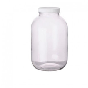 128oz (1 gallon) Clear Wide Mouth Round Assembled w/89-400 PTFE Lined Cap, Certified (4/cs)