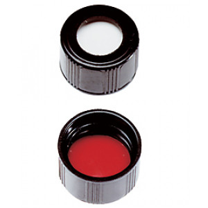 13-425 Open Top Phenolic Cap w/ Red PTFE/White Silicone Septa (100/pk)