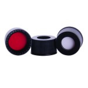 10-425 Black Screw Cap with Red PTFE/White Silicone Septa - Conditioned (100pk)