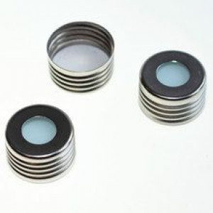 """16mm Screwtin Cap with Blue PTFE/WHITE Silicone, 0.0060"""" Thick Septa (100pk)"""