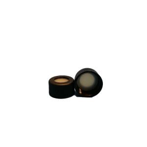 13-425 Black PP Threaded 13mm Cap w/PTFE/Silicone Septum (100pk)