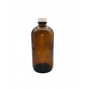 16oz Amber Boston Round Assembled w/28-400 PTFE Lined Cap, Certified (12cs)