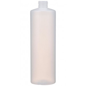 16oz Natural HDPE Cylinder Assembled w/24-410 Black Phenolic Poly Cone Lined Cap (340/cs)