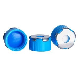 "18 MM BlueMAG PP CAP Trans Blue Silicone /White PTFE; 0.070"" (100pk)"