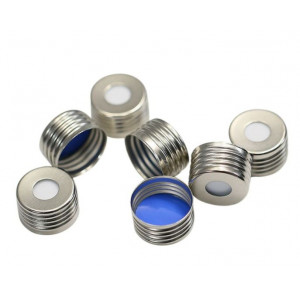 18mm Metal Magnetic Screw Cap with Prefitted Silcone /Teflon liner (Chromacol 20mm) 125cs