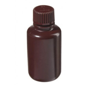 60mL Narrow Mouth Amber HDPE Bottle, 20mm Amber PP Screw Thread Closure (72/cs)