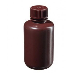 125mL Narrow Mouth Amber HDPE Bottle, 24mm Amber PP Screw Thread Closure (72/cs)