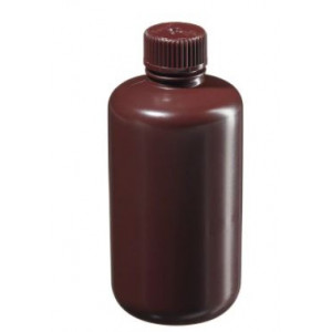 250mL Narrow Mouth Amber HDPE Bottle, 24mm Amber PP Screw Thread Closure (72/cs)