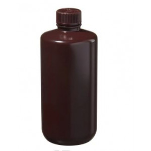 500mL Narrow Mouth Amber HDPE Bottle, 28mm Amber PP Screw Thread Closure (48/cs)
