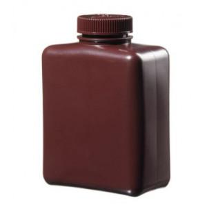 1000mL Rectangular Amber HDPE Bottle, 53mm Amber PP Screw Thread Closure (24/cs)