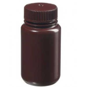 125mL Wide Mouth Amber HDPE Bottle, 38mm Amber PP Screw Thread Closure {Lab Grade} (72/cs)