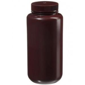 1000mL Wide Mouth Amber HDPE Bottle, 63mm Amber PP Screw Thread Closure {Lab Grade} (24/cs)