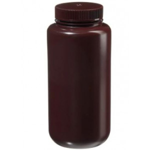1000mL Wide Mouth Opaque Amber HDPE Bottle, 63-415 Amber PP Screw Thread Closure {Lab Grade} (50/cs)
