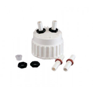 """1/2"""" OD PP Barbed Fittings [2], Acetal Nuts [2], Silicone Gaskets [2], TPE Port Cap [1] (24 Sets/cs)"""