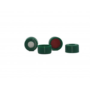 "9MM GREEN SMOOTH SCREW CAP w/ ST2500 .040"" (1MM) THICK, RED PTFE / WHITE EASY PIERCE SILICONE  100pk"
