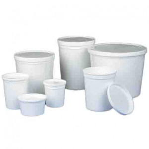 Container, Multi-Purpose, HDPE, Economy Style, 8oz (240mL), Tall Style, Separate Snap Lid, White, 100/Unit