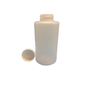 2 LITER (2200mL) Natural HDPE Round Bottle with a 63/485 White PP Heavy Duty Cap (18/cs)