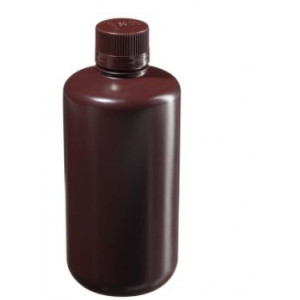 1000mL Boston Round Narrow Mouth Translucent Amber HDPE Bottle, 38-430 PP Screw Thread Closure {Lab Grade} (50/cs)