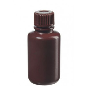 60mL Narrow Mouth Opaque Amber HDPE Bottle, 20-415 Amber PP Screw Thread Closure {Packaging Grade} (1000/cs)
