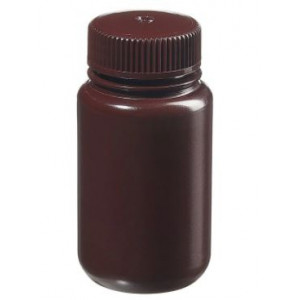 125mL Wide Mouth Opaque Amber HDPE Bottle, 38-415 Amber PP Screw Thread Closure {Lab Grade} (500/cs)