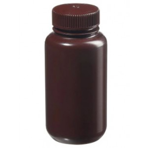 250mL Wide Mouth Opaque Amber HDPE Bottle, 43-415 Amber PP Screw Thread Closure {Lab Grade} (250/cs)