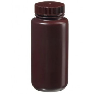 500mL Wide Mouth Opaque Amber HDPE Bottle, 53-415 Amber PP Screw Thread Closure {Lab Grade} (125/cs)