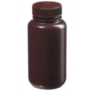 250mL Wide Mouth Opaque Amber HDPE Bottle, 43-415 Amber PP Screw Thread Closure {Packaging Grade} (250/cs)