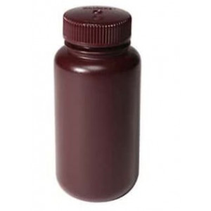 500mL Wide Mouth Opaque Amber HDPE Bottle, 53-415 Amber PP Screw Thread Closure {Packaging Grade} (125/cs)