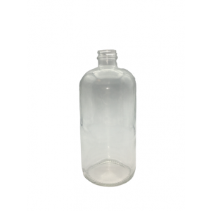 32oz Clear Boston Round Safety Coated (12/cs)