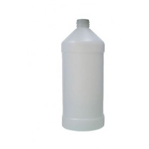 32oz Natural HDPE Modern Round Assembled w/38-400 Black Phenolic Poly Cone Lined Cap (94/cs)