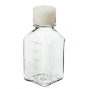 250mL Square PETG Sterile Media Bottle, 38-430 HDPE Screw Thread Closure (60/cs)