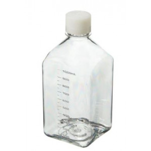 1000mL Square PETG Sterile Media Bottle, 38-430 HDPE Screw Thread Closure (24/cs)