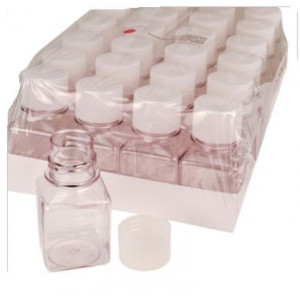 250mL Media Bottle, Graduated, Square - PET w/HDPE 38-430 Closure - Shrink Wrap Module - STERILE,(60/cs)