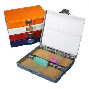 Slide Box for 100 Slides, Cork Lined, Stainless Steel Lock, Orange