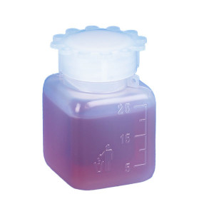 Bottle with Screwcap, Wide Mouth, Square, Graduated, PE (Cap: PP), 25mL, 100/Bag, 5 Bags/Unit