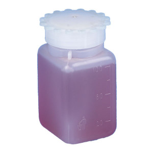Bottle with Screwcap, Wide Mouth, Square, Graduated, PE (Cap: PP), 250mL, 50/Unit