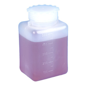 Bottle with Screwcap, Wide Mouth, Square, Graduated, PE (Cap: PP), 50mL, 100/Unit