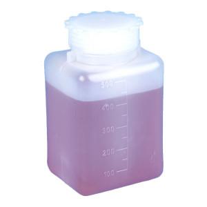 Bottle with Screwcap, Wide Mouth, Square, Graduated, PE (Cap: PP), 500mL, 6/Unit
